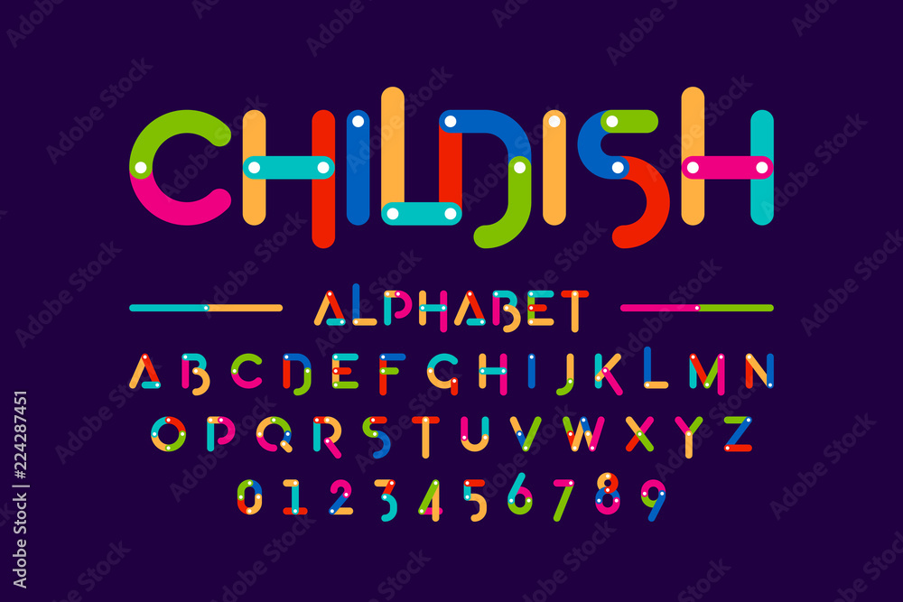 Fototapety, obrazy: Childish colorful font, construction set alphabet letters and numbers