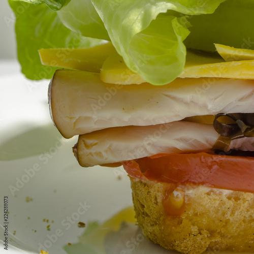 Fotografie, Obraz  Up close view of mouthwatering deli sandwich