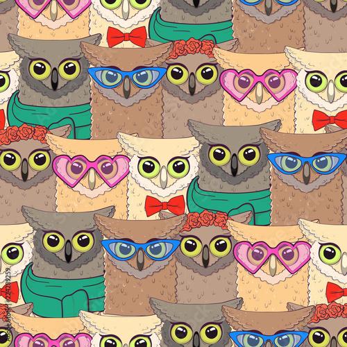 szwu-z-cute-sowy-z-modnymi-akcesoriami-okulary-muszka-kwiaty