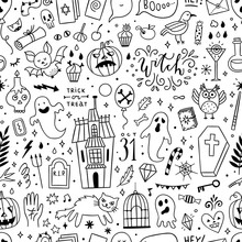 Halloween Seamless Pattern Design. Background With Cute Outline Halloween Party Illustrations: Witchcraft, Pumpkins, Ghosts, Magic Objects