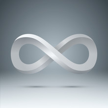 3d White Infinity - Realistic Icon. Vector Eps 10