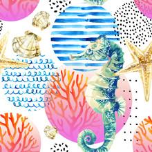 Watercolor Seahorse, Coral Ree...