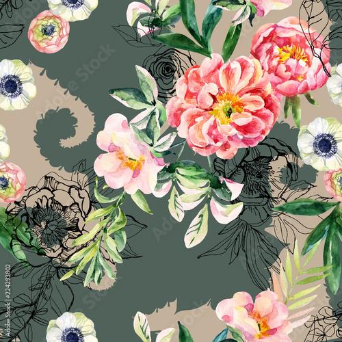 akwarela-i-tusz-doodle-kwiaty-liscie-chwasty-na-wzor-sylwetka-paisley