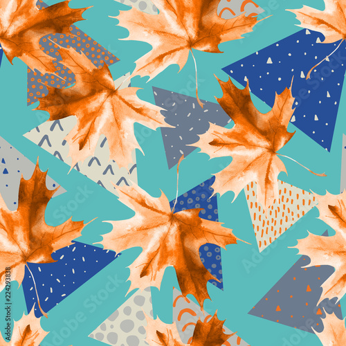 Photo sur Toile Empreintes Graphiques Watercolor maple leaf, triangles with minimal, grunge textures.