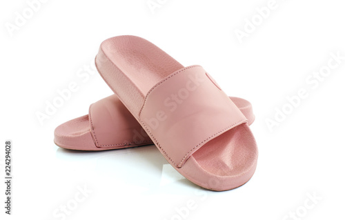 pink slippers isolated white background