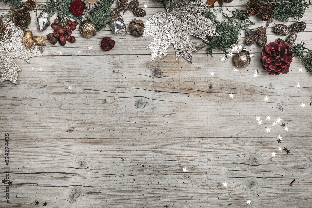 Fototapety, obrazy: Festive Christmas Composition on a wooden background