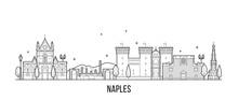 Naples Skyline Italy City Buildings Vector Linear