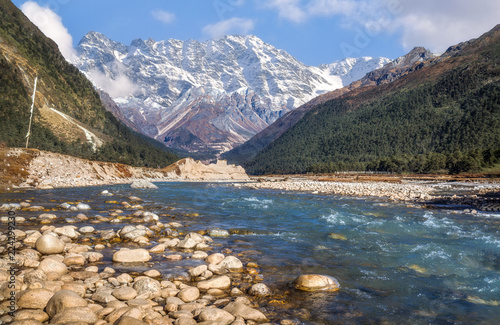 Scenic landscape at Yumthang river valley Sikkim India with view of the Himalayan mountain range