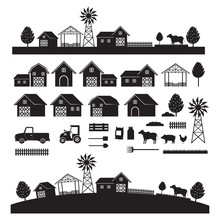 Farm Objects And Landscape, Silhouette Set