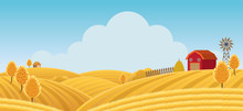Farm On Hill With Yellow Or Gold Field Background