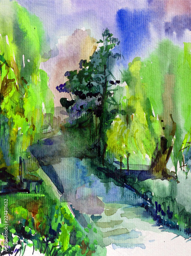 Watercolor colorful bright textured abstract background handmade . Mediterranean landscape . Painting of architecture and vegetation of the park , made in the technique of watercolors from nature © olha