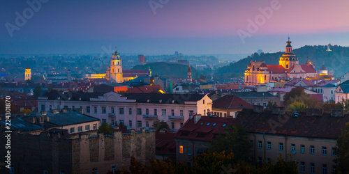 Canvas Prints Eastern Europe Beautiful aerial view of Vilnius city, Lithuania