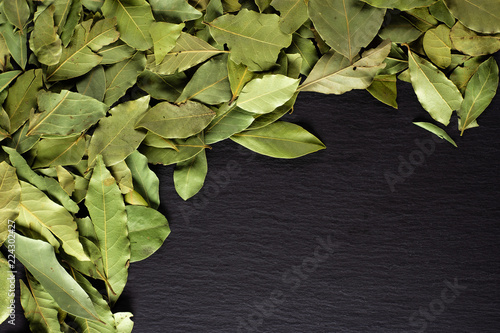 Lot of whole dry olive green bay laurel leaves above left side flatlay on grey stone
