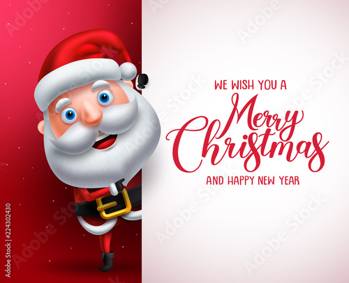 Santa Claus Vector Character Showing White Board With Merry