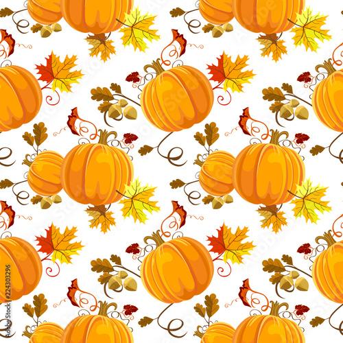 Seamless Autumn Pattern Floral Style Design Pumpkin Orange