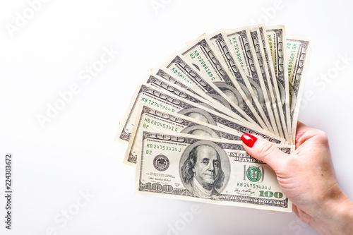 Fotografía  Woman hold cash money dollars