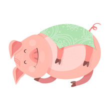 A Funny New Year's Piggy 2019 Symbol. The Pig Is Asleep And Covered By A Blanket