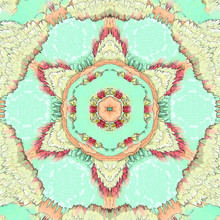 Turquoise Mandala With Roses And Arabesque Star