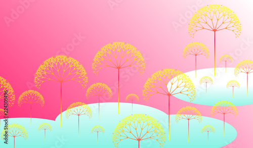 In de dag Candy roze dreamy fantasy forest landscape in soft pink blue shades