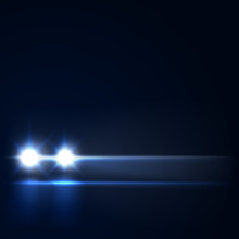Night Car With Bright Headlights Approaching In The Dark, Led Car Headlights On The Night Road, Vector Illustration