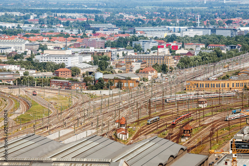 railways leading to station Hauptbahnhof of Leipzig, Germany