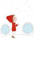 Белый вертикальный фон для вашего текста с изображением счастливой маленькой девочки в красной куртке и красной вязаной шапочке, которая стоит и смотрит на падающие снежинки на фоне зимних деревьев.