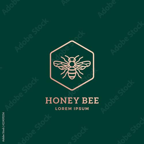 Fotografia, Obraz Premium Honey Bee Abstract Vector Sign, Symbol or Logo Template