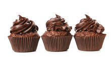 Tasty Chocolate Cupcakes On White Background