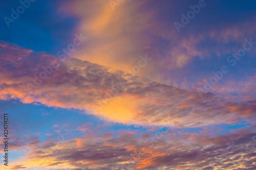 Foto op Aluminium Koraal Fantastic view of the dark overcast sky. Dramatic and picturesque twilight scene