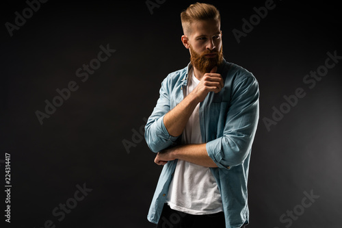 Fototapety, obrazy: Portrait of happy fashionable handsome man in jeans shirt look at camera.