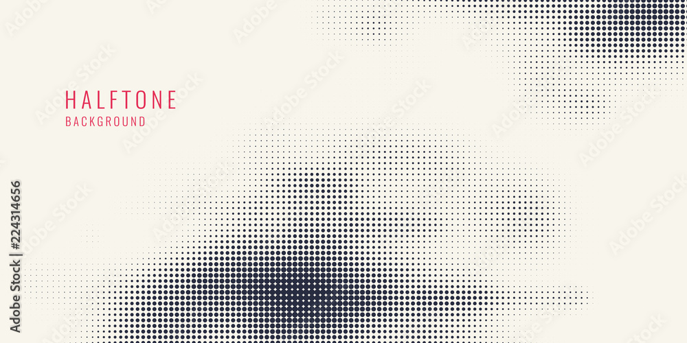 Fototapeta Monochrome printing raster, abstract vector halftone background. Black and white texture of dots.