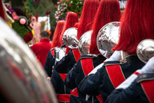 Details From A Show And Marchingband Or Fanfare And Drumband With Uniforms And Instruments.