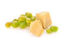 Fresh Ripe Juicy Grapes With Parmesan Cheese On White Background