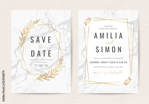 Fototapeta Wedding Invitation Cards With Marble Texture Background And Gold Geometric Line Design Vector