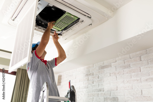 Air Conditioner Installing Canvas Print