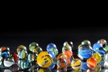 Different Glass Balls On Black...