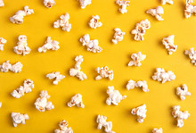 Popcorn On A Yellow Background...