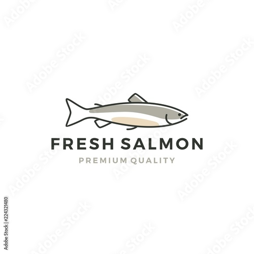 Foto salmon fish logo seafood label badge vector sticker download