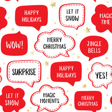 Seamless Holiday Pattern Of Vector Red  Speech Bubbles With Greetings: Merry Christmas, Happy Holiday, Let It Snow Etc. Vector Illustration With Gold Stars On White