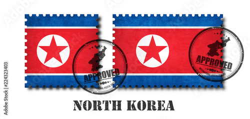 Photo North korea flag pattern postage stamp with grunge old scratch texture and affix a seal on isolated background