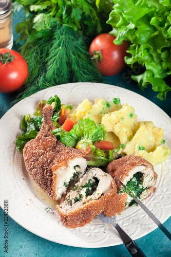 Fotobehang Kiev Chicken Kiev, breaded chicken breast