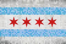 Abstract Mosaic Flag Of Chicago - Illustration, 