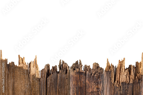 Staande foto Brandhout textuur Old planks isolated on white.