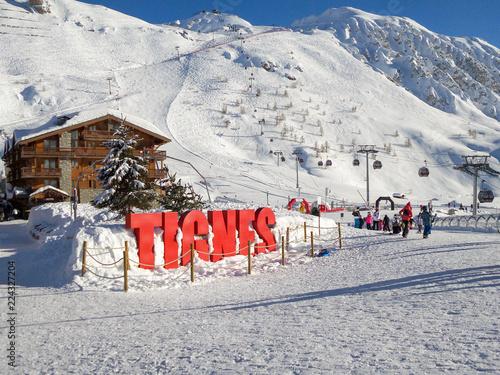 Ski station of Tignes in winter, letters Tignes