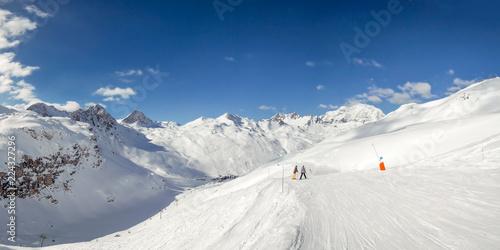 Panorama of ski slopes at Tignes, ski resort in the Alps, France