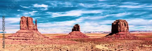 Tuinposter Panoramafoto s Panorama Monument valley USA Teiltonung