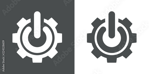 Slika na platnu Icono plano engranaje con símbolo start en gris y blanco