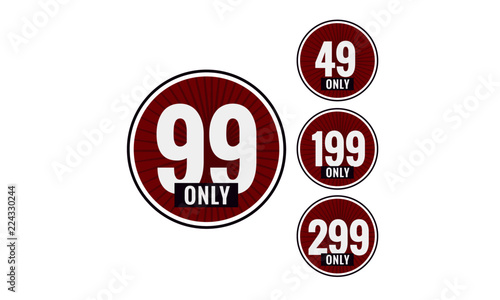 Photographie  Sale 49 99 199 and 299 Only Offer Badge Sticker Design in Flat Style