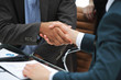 closeup.handshake trading partners on the background of the workplace