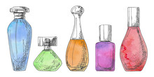 Set Of Different Bottles Of Pe...